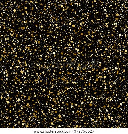 Gold splash or glittering spangles seamless pattern. Hand drawn gold glitter texture. Golden blobs or uneven spots on black background endless template. Splatter background. - stock photo