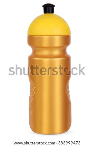 gold sports water bottle, isolated on white background - stock photo