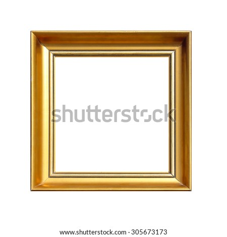 Gold Square Frame Isolated Included Clipping Path - stock photo