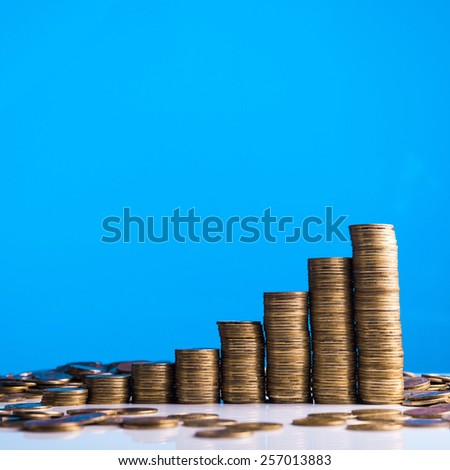 Gold stack of coins on background - stock photo