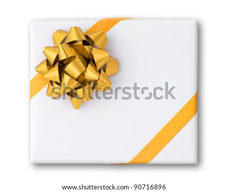 Gold star and Oblique line ribbon on White paper box and shadow - stock photo