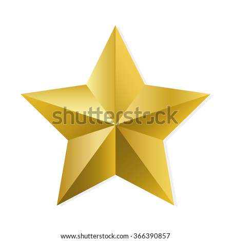Gold star. illustration, isolated object on white background - stock photo