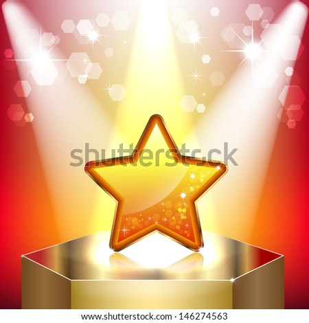 Gold star on a pedestal. Symbol of success and victory. The scene illuminated by floodlights. Raster copy  - stock photo