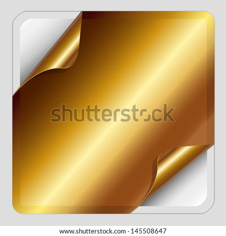 Gold Sticker with dog-eared. Raster copy  - stock photo
