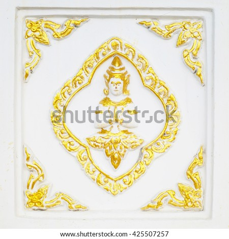 Gold Stucco walls antique flower background  - stock photo