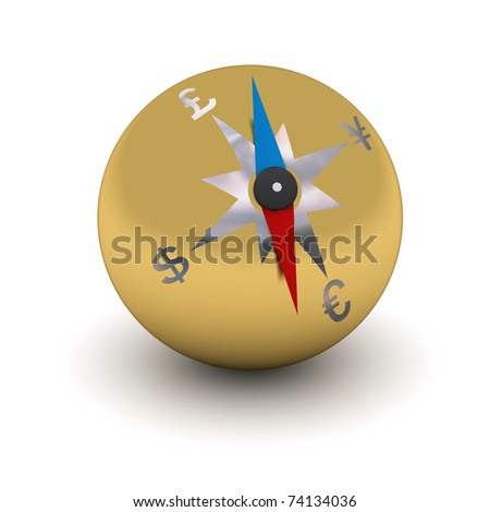 gold stylized compass indicating the direction of currencies - stock photo