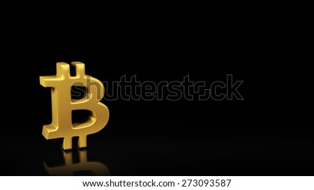 Gold symbol Bitcoin on black background with reflection and copyspace. Good for slide with text - stock photo