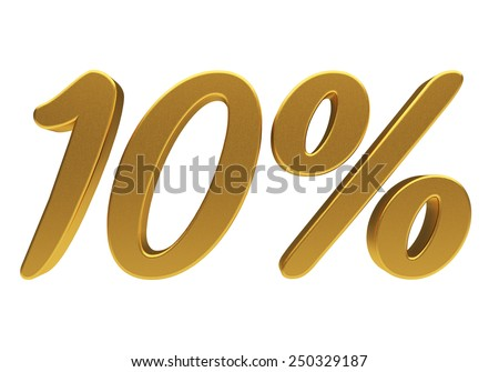 Gold ten percent off. Discount 10. 3D illustration - stock photo