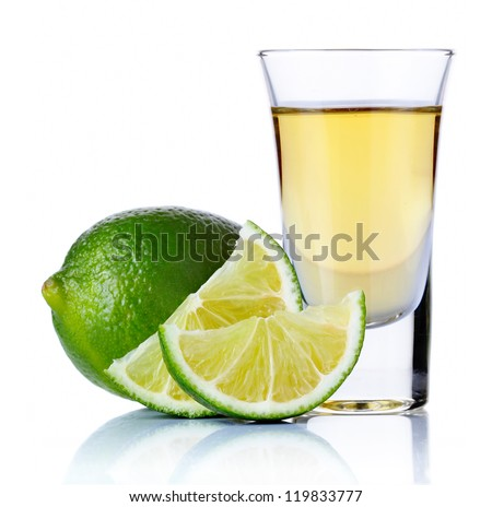 Gold tequila shot with lime isolated on white background - stock photo