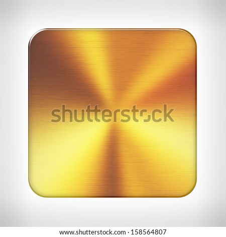 Gold texture icon (button) on neutral background, template for applications (app), web user interfaces, internet sites and business presentations. - stock photo