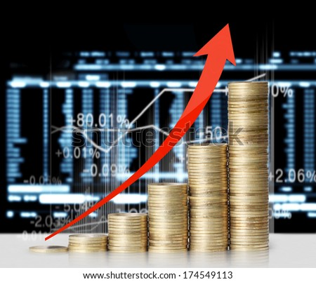gold the coins and graph them - stock photo