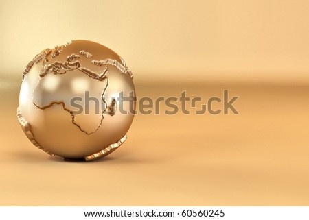 Gold three-dimensional earth on yellow background. 3d - stock photo