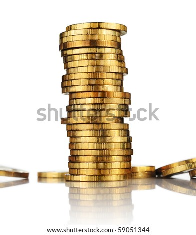 Gold tower made out of gold coins - stock photo
