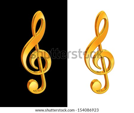 Gold treble clef on white and black background - stock photo