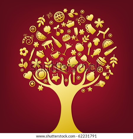 Gold Tree Made Of Products And Subjects Of Restaurant Icons - stock photo