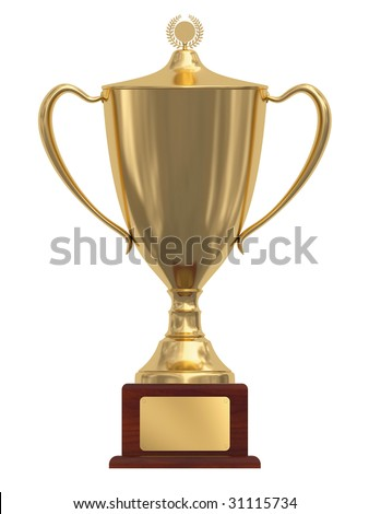 Gold trophy cup on wood pedestal with blank golden plate isolated on white. High resolution 3D image - stock photo