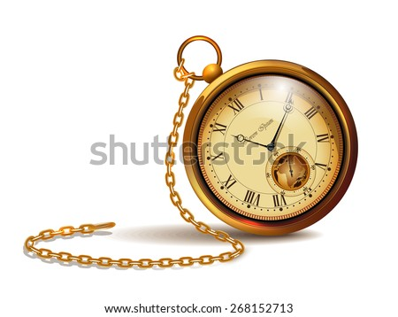 Gold vintage clock with roman numerals and chains. - stock photo