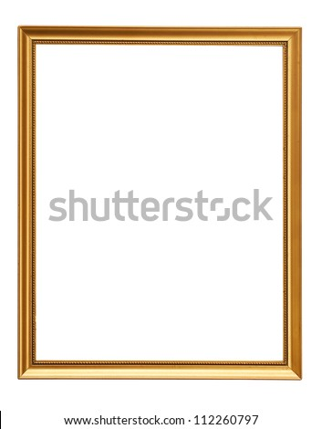 Gold vintage frame. Elegant vintage gold/gilded picture frame with beading. Isolated on white. - stock photo