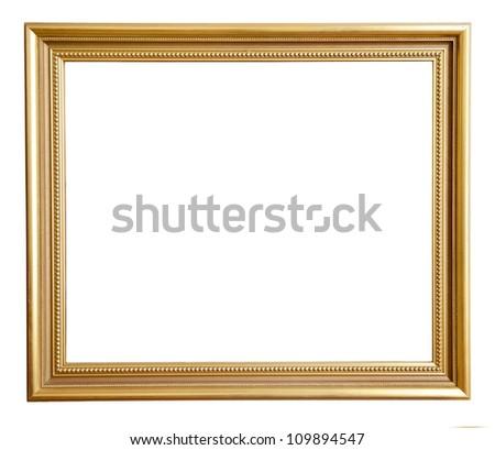 Gold vintage frame isolated on white background - stock photo