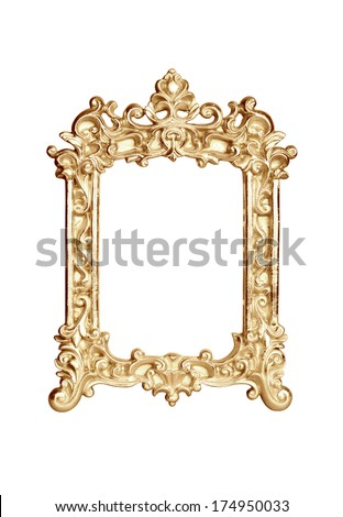 Gold vintage picture frame isolated on white with clipping path. - stock photo