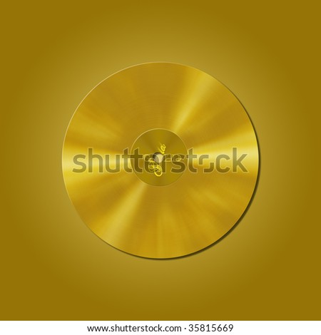 gold vinyl record isolated on gold background - stock photo