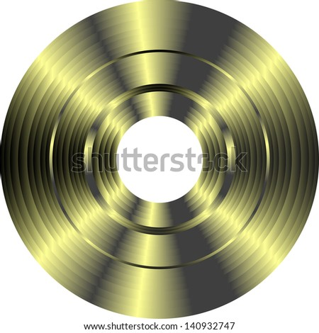 gold vinyl record isolated on white background, raster - stock photo