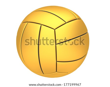 Gold volleyball on a white background - stock photo
