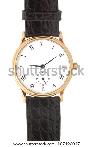 Gold watch with black leather band and roman numeral dial isolated on a white background - stock photo