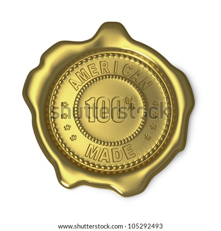 Gold wax seal with American Made text on white background - stock photo