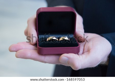 gold wedding rings  - stock photo