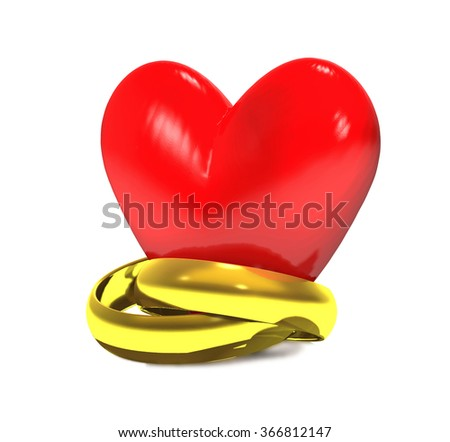 Gold wedding rings and red heart on white background. - stock photo