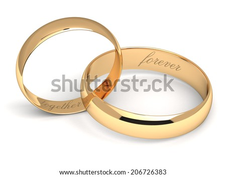Gold wedding rings engraved with the text forever together. - stock photo
