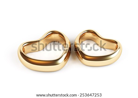 Gold wedding rings isolated - stock photo