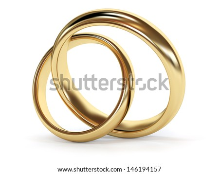 Gold wedding rings jointed. 3d rendered illustration - stock photo