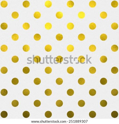 Gold White Polka Dot Pattern Swiss Dots Texture Digital Paper Background - stock photo