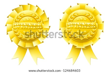 Gold winner rosettes with the word winner in the centre and winners laurel wreath and stars - stock photo