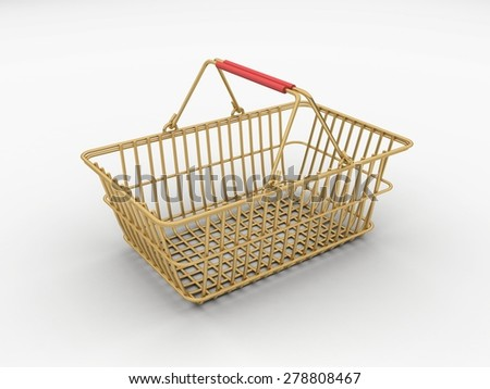 Gold wire shopping basket isolated on a white background. - stock photo