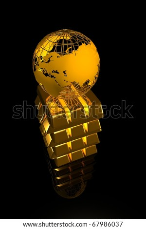 Gold world - stock photo
