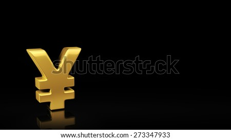 Gold Yen symbol on black background with reflection and copyspace. Good for finance slide with text - stock photo