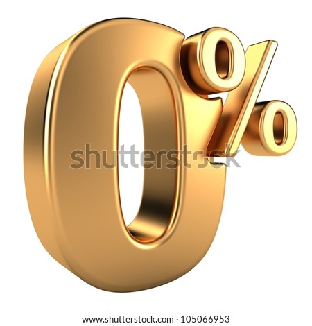 Gold zero percent, isolated on white background - stock photo