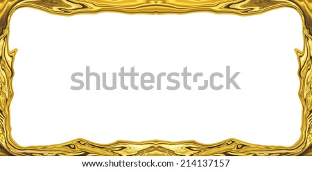 golden abstract blurry smooth border frame - stock photo
