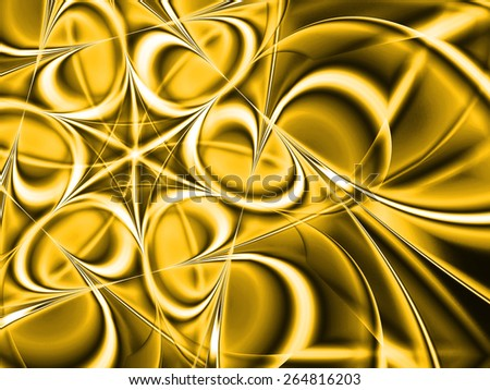golden abstract fractal flower from light rays  - stock photo