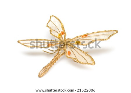 Golden accessory in form dragonfly - stock photo