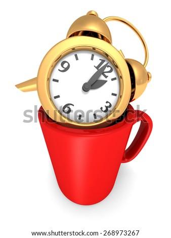 Golden Alarm Clock In Coffee Mug Cup. Take A Break Concept. 3d Render Illustration - stock photo