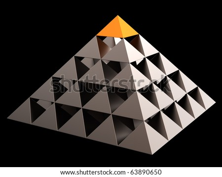 Golden all seeing eye financial pyramid abstract. Leadership concept. This is a detailed 3D render (Hi-Res). Isolated on black - stock photo