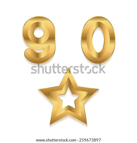 Golden alphabet. Set of metallic 3d numbers. Digits 9 0. Star frame. - stock photo