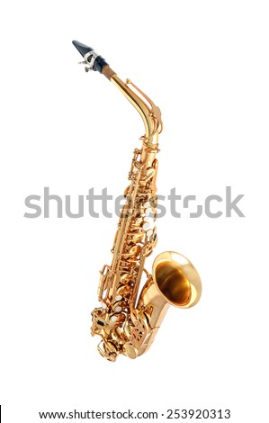 Golden alto saxophone classical instrument isolated on white - stock photo