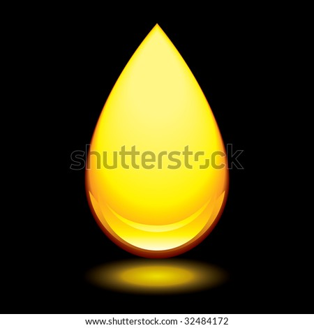 Golden amber droplet with outer glow and black background - stock photo