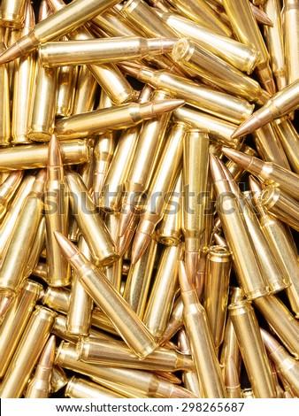 Golden ammunition background - stock photo