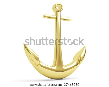 Golden Anchor, 3d render isolated on white background - stock photo